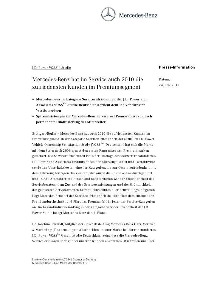 J.D. Power VOSSSM Studie                                                             Presse-InformationMercedes-Benz hat i...
