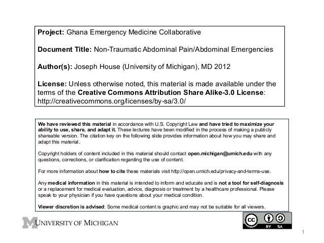 Project: Ghana Emergency Medicine Collaborative Document Title: Non-Traumatic Abdominal Pain/Abdominal Emergencies Author(...