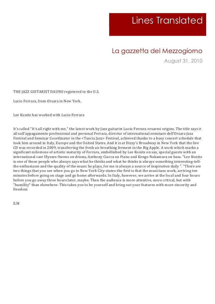 Lines Translated                                                                                                La gazzett...