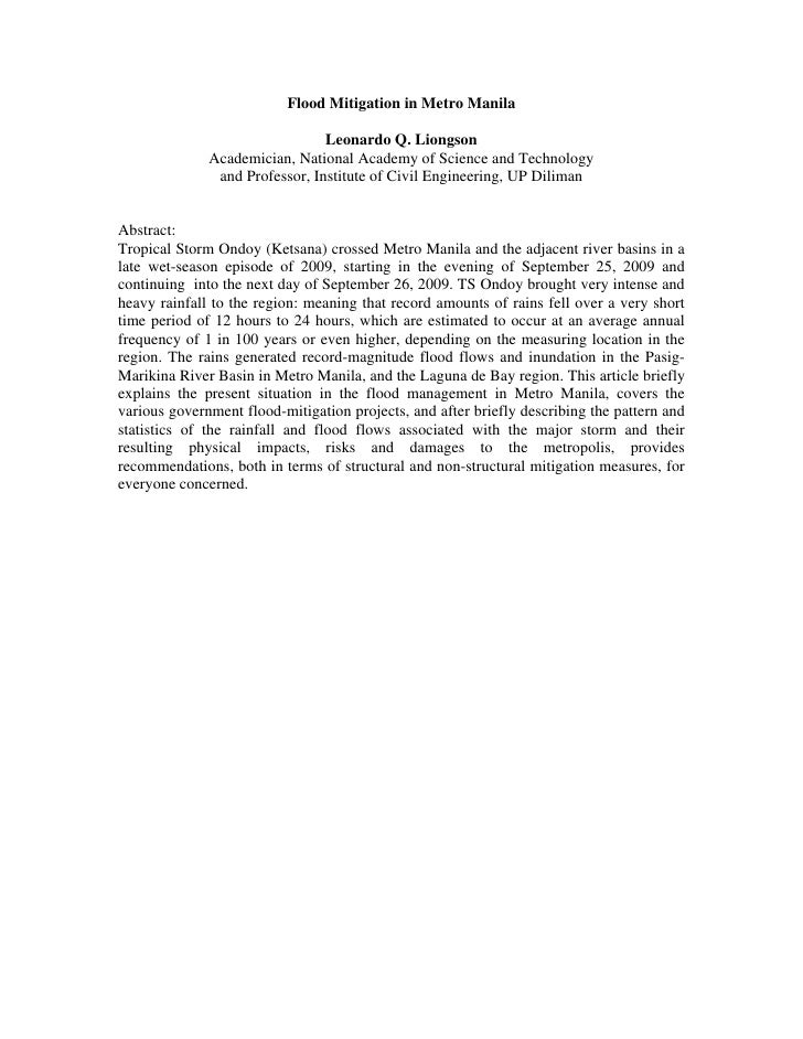 Flood Mitigation in Metro Manila                                Leonardo Q. Liongson              Academician, National Ac...