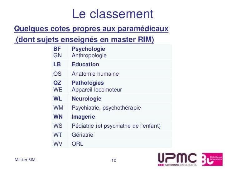 Le classementQuelques cotes propres aux paramédicaux(dont sujets enseignés en master RIM)             BF   Psychologie    ...