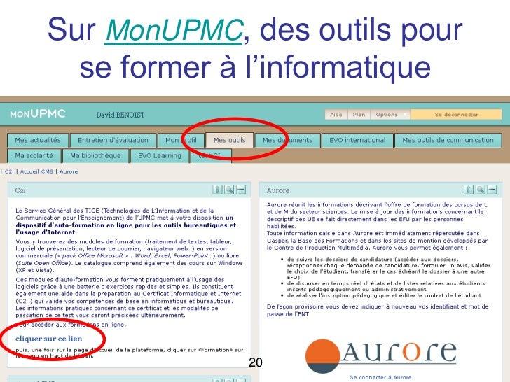 Sur MonUPMC, des outils pour    se former à l'informatiqueMaster RIM     20