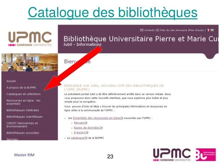 Catalogue des bibliothèquesMaster RIM        23