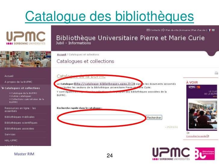 Catalogue des bibliothèquesMaster RIM        24