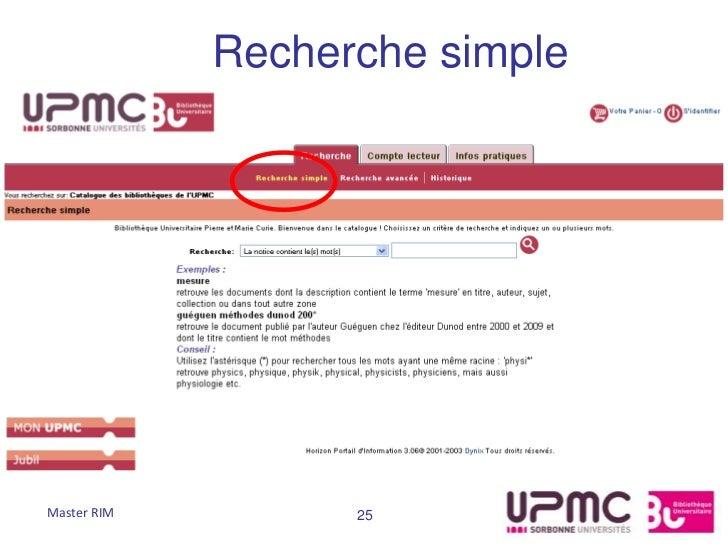 Recherche simpleMaster RIM         25