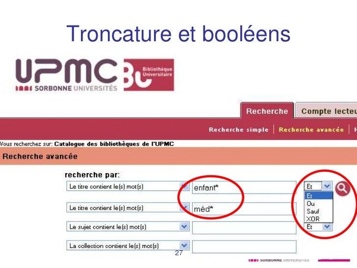 Troncature et booléensMaster RIM             27