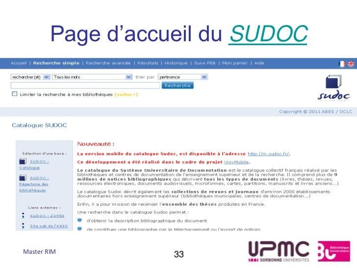 Page d'accueil du SUDOCMaster RIM         33