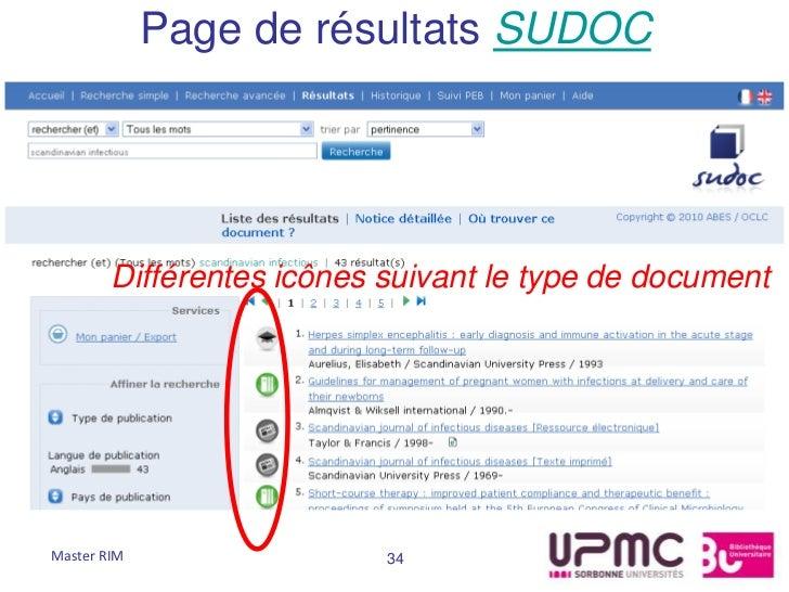 Page de résultats SUDOC        Différentes icônes suivant le type de documentMaster RIM                 34