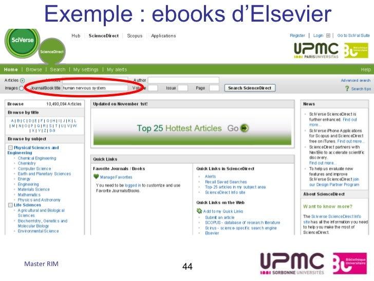 Exemple : ebooks d'ElsevierMaster RIM        44
