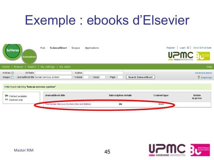 Exemple : ebooks d'ElsevierMaster RIM        45