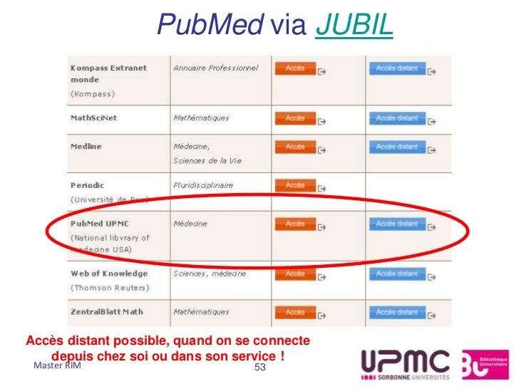 PubMed via JUBILAccès distant possible, quand on se connecte   depuis chez soi ou dans son service ! Master RIM           ...