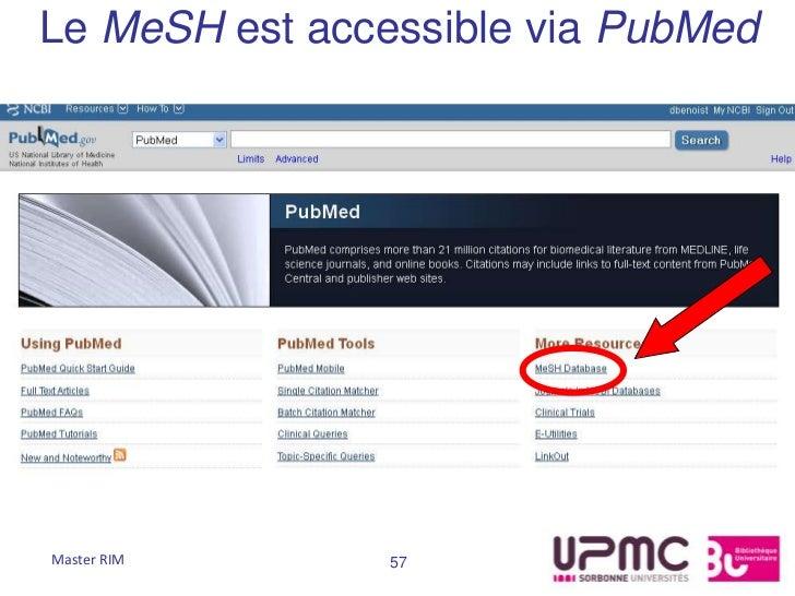 Le MeSH est accessible via PubMedMaster RIM      57