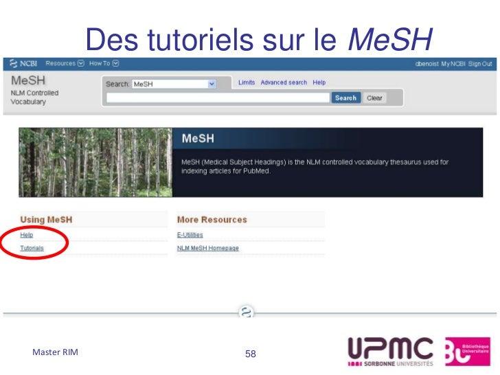 Des tutoriels sur le MeSHMaster RIM              58