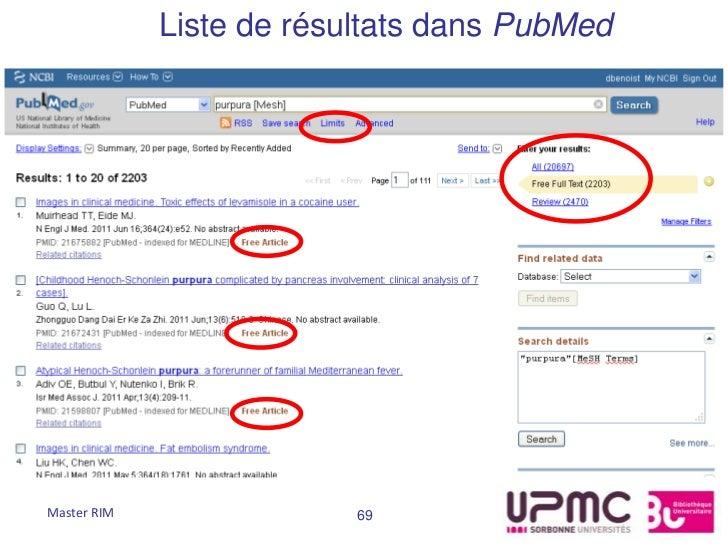 Liste de résultats dans PubMedMaster RIM                69