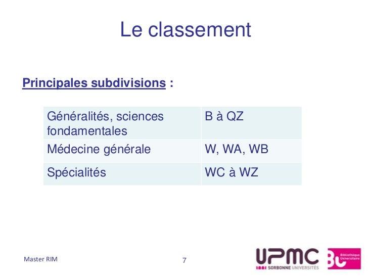 Le classementPrincipales subdivisions :      Généralités, sciences       B à QZ      fondamentales      Médecine générale ...
