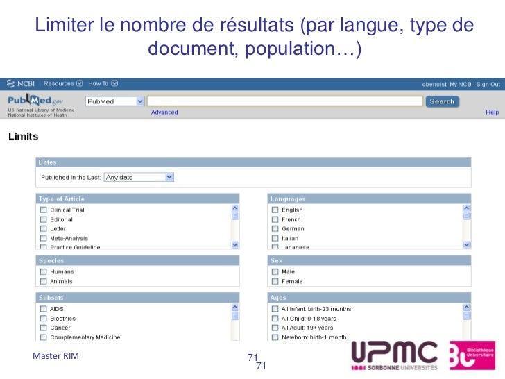 Limiter le nombre de résultats (par langue, type de             document, population…)Master RIM              71          ...