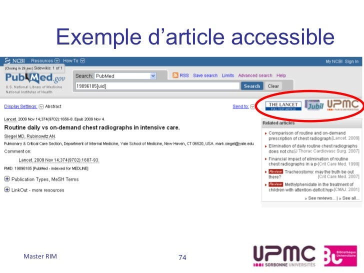 Exemple d'article accessibleMaster RIM           74
