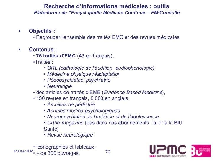 Recherche d'informations médicales : outils         Plate-forme de l'Encyclopédie Médicale Continue – EM-Consulte      Ob...
