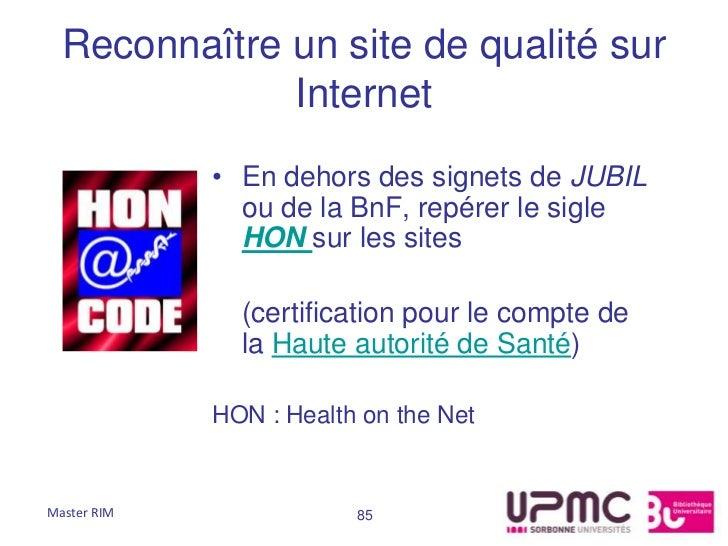 Reconnaître un site de qualité sur              Internet             • En dehors des signets de JUBIL               ou de ...