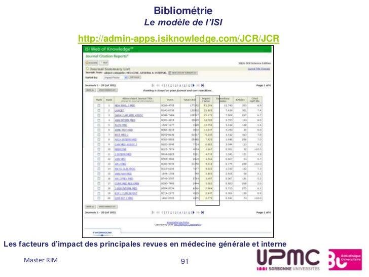 Bibliométrie                                     Le modèle de l'ISI                   http://admin-apps.isiknowledge.com/J...