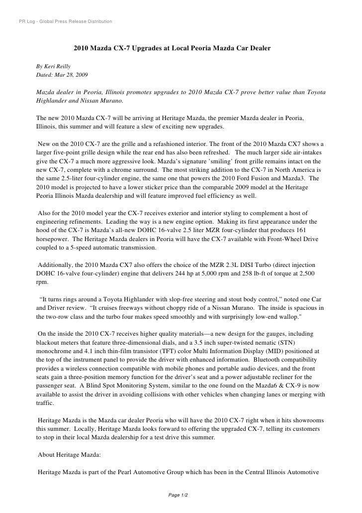 PR Log - Global Press Release Distribution                             2010 Mazda CX-7 Upgrades at Local Peoria Mazda Car ...