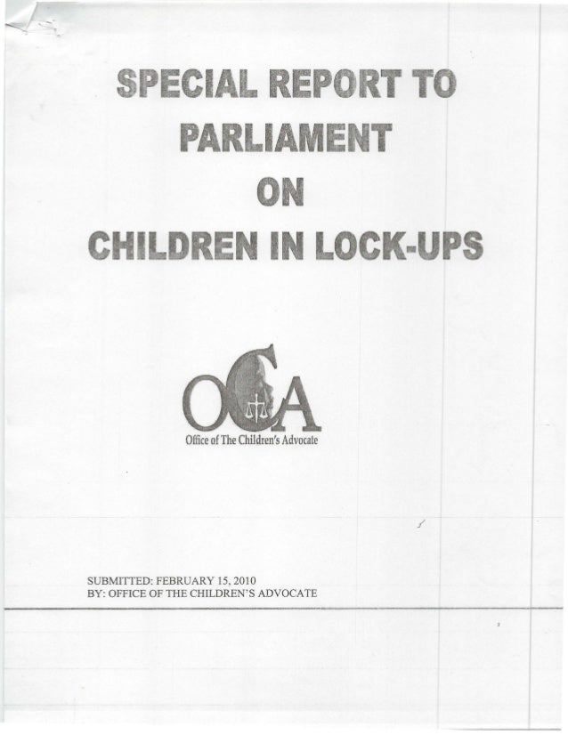 Cl RE IA C .·IL IN u. Office ofThe Children's Advocate SUBMITTED: FEBRUARY 15, 2010 BY: OFFICE OF THE CHILDREN'S ADVOCATE