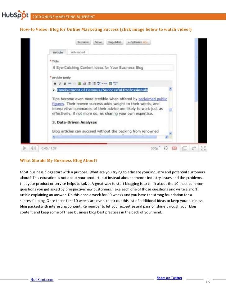 2010 online marketing blueprint share on twitter hubspot 15 16 2010 online marketing blueprint malvernweather Gallery