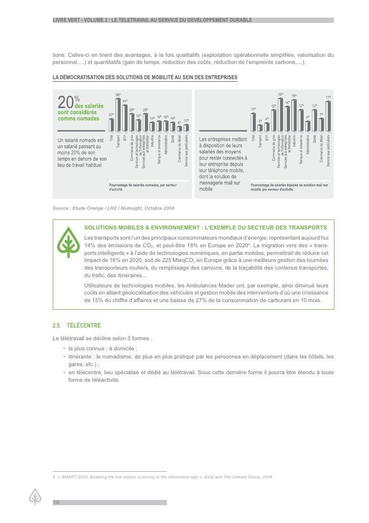 LiVre Vert - VoLume 2 : Le teLetraVaiL au serVice du deVeLoppement durabLe     tions. Celles-ci en tirent des avantages, à...