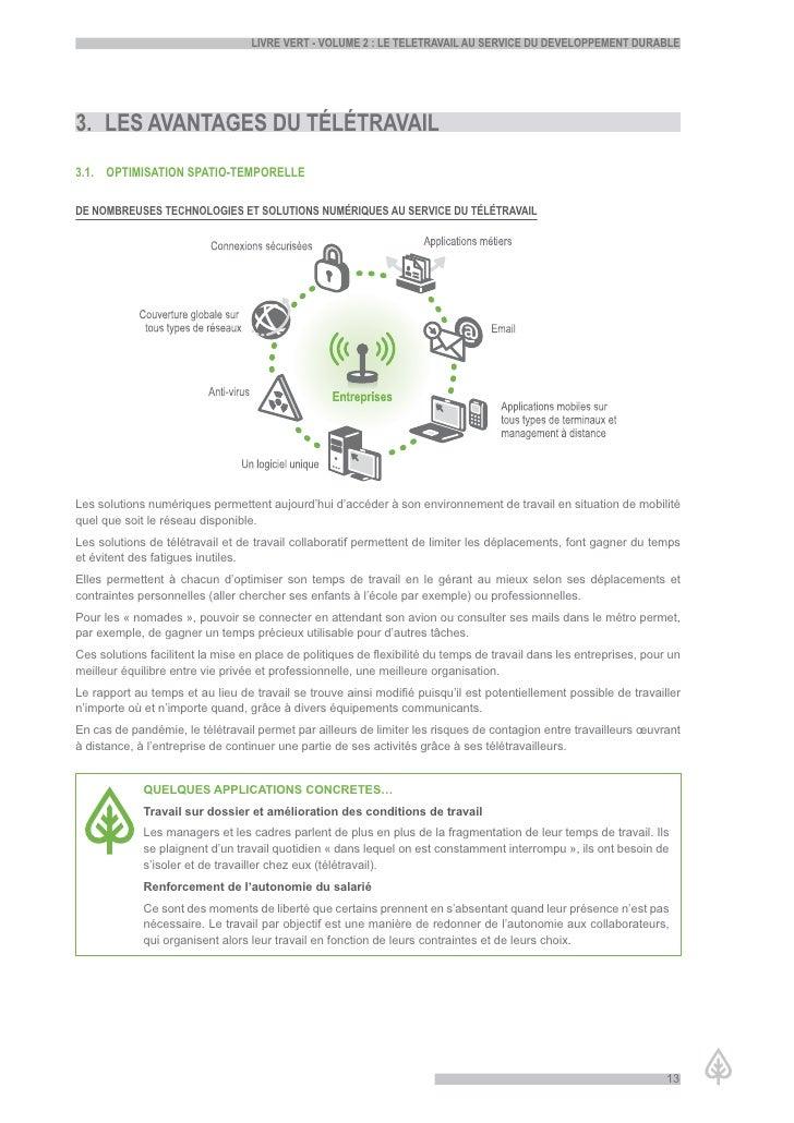 LiVre Vert - VoLume 2 : Le teLetraVaiL au serVice du deVeLoppement durabLe     3. Les aVantaGes du téLétraVaiL 3.1. optimi...