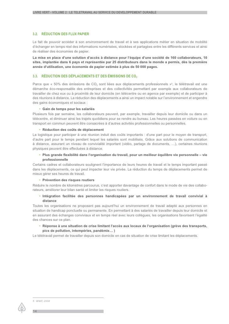 LiVre Vert - VoLume 2 : Le teLetraVaiL au serVice du deVeLoppement durabLe     3.2. réduction des fLux papier  Le fait de ...