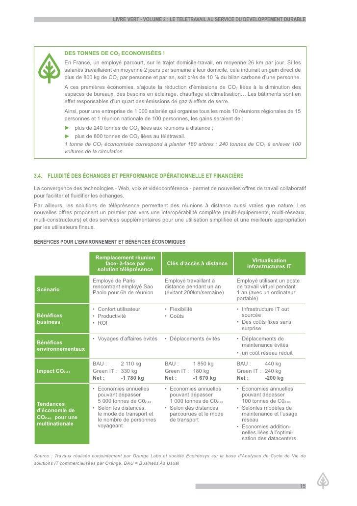LiVre Vert - VoLume 2 : Le teLetraVaiL au serVice du deVeLoppement durabLe                  DES TONNES DE CO2 ECONOMISÉES ...