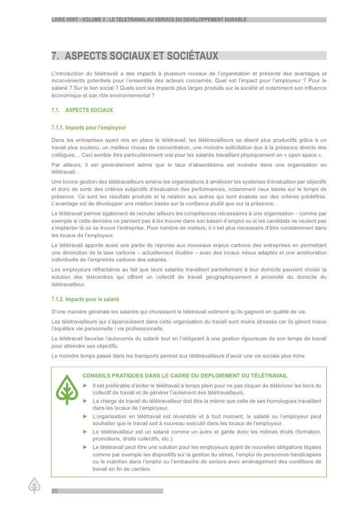 LiVre Vert - VoLume 2 : Le teLetraVaiL au serVice du deVeLoppement durabLe     7. aspects sociaux et sociétaux L'introduct...