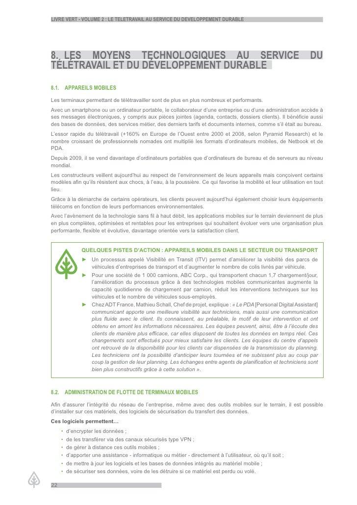LiVre Vert - VoLume 2 : Le teLetraVaiL au serVice du deVeLoppement durabLe     8. Les moyens technoLoGiques au serVice    ...