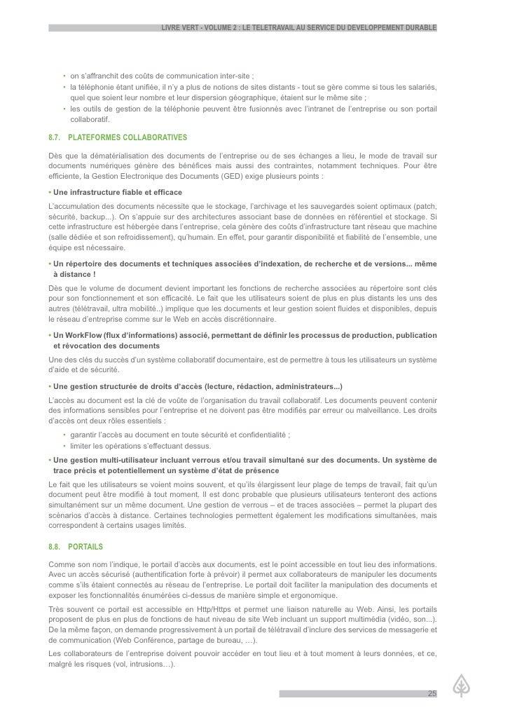 LiVre Vert - VoLume 2 : Le teLetraVaiL au serVice du deVeLoppement durabLe         • on s'affranchit des coûts de communic...