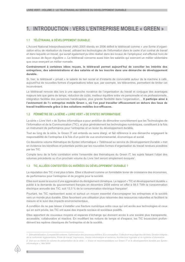 LiVre Vert - VoLume 2 : Le teLetraVaiL au serVice du deVeLoppement durabLe     1. introduction : Vers L'entreprise mobiLe ...