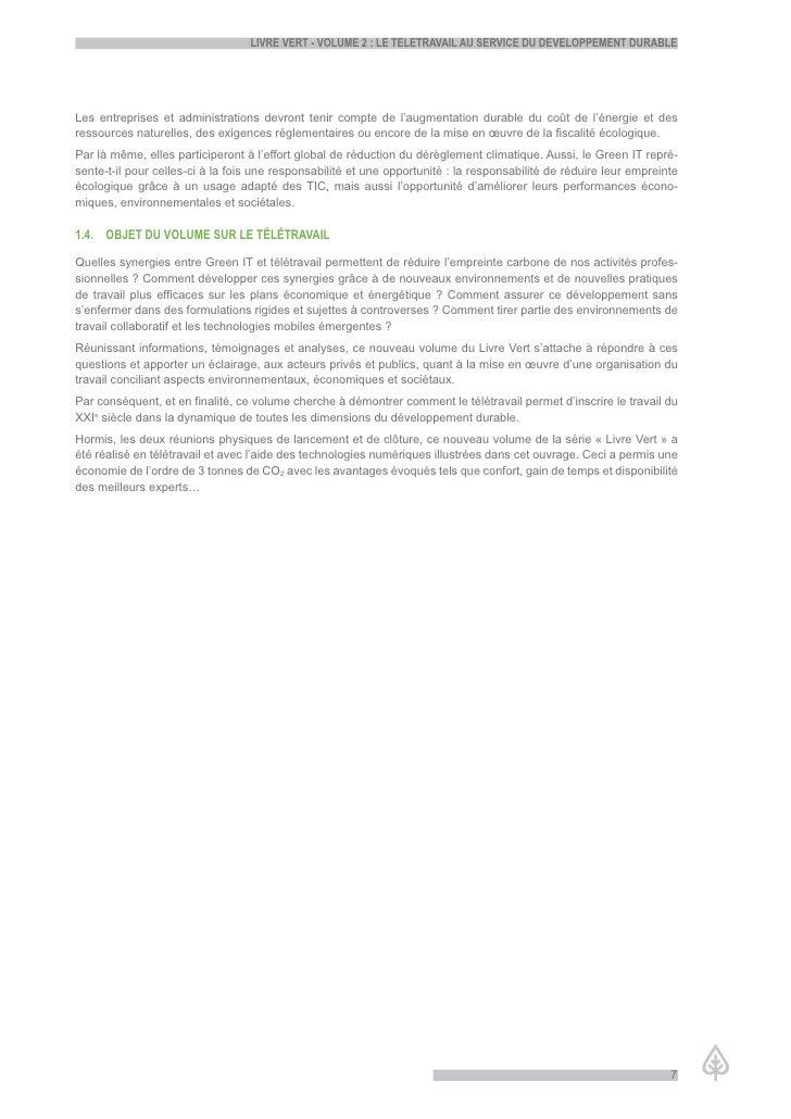 LiVre Vert - VoLume 2 : Le teLetraVaiL au serVice du deVeLoppement durabLe     Les entreprises et administrations devront ...