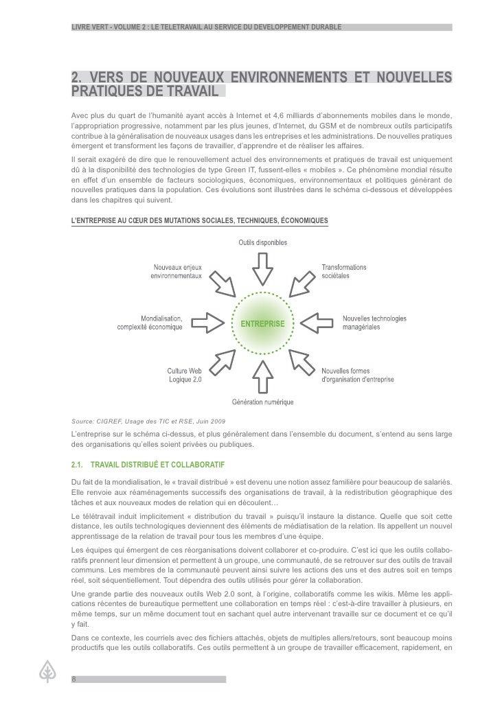 LiVre Vert - VoLume 2 : Le teLetraVaiL au serVice du deVeLoppement durabLe     2. Vers de nouVeaux enVironnements et nouVe...