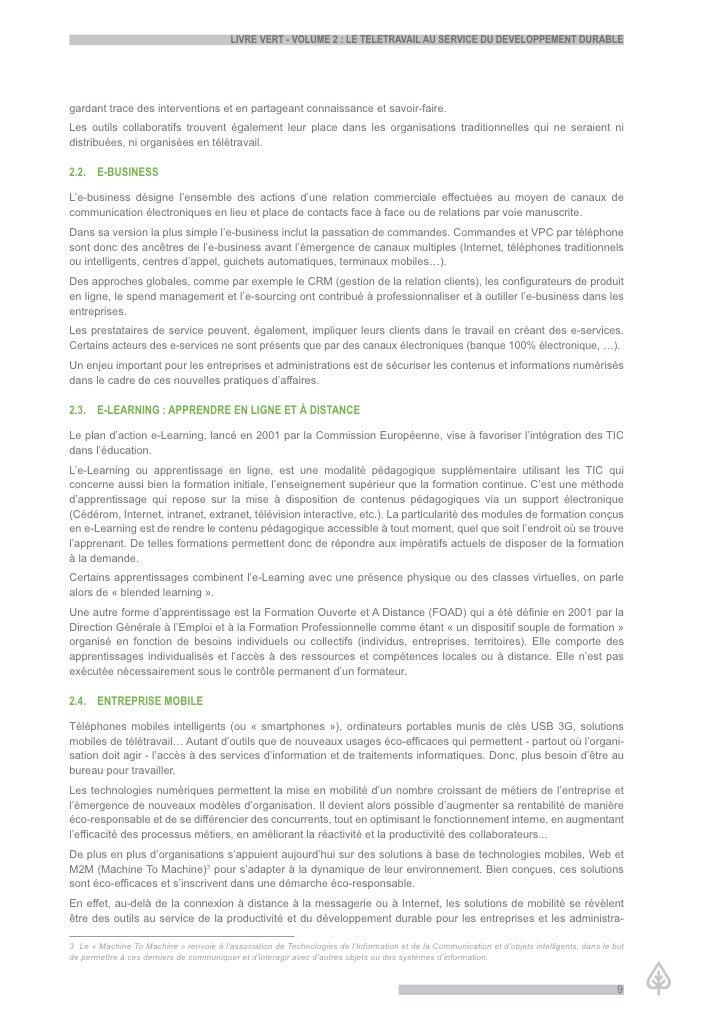 LiVre Vert - VoLume 2 : Le teLetraVaiL au serVice du deVeLoppement durabLe     gardant trace des interventions et en parta...