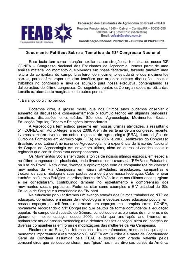 Documento Político: Sobre a Tem á tic a do 5 3º Congresso N a cional       Esse texto tem como intenção auxiliar na constr...