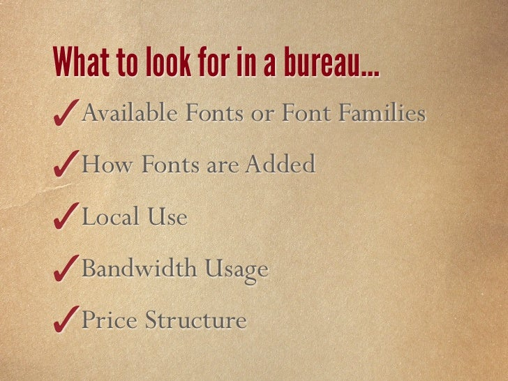 Webfont Service Bureaus                 Typekit      Kernest        Typotheque     # Fonts      500+          600+        ...