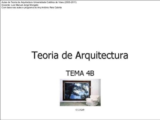 Aulas de Teoria da Arquitectura Universidade Católica de Viseu (2005-2011) Docente: Luis Manuel Jorge Morgado Com base nas...