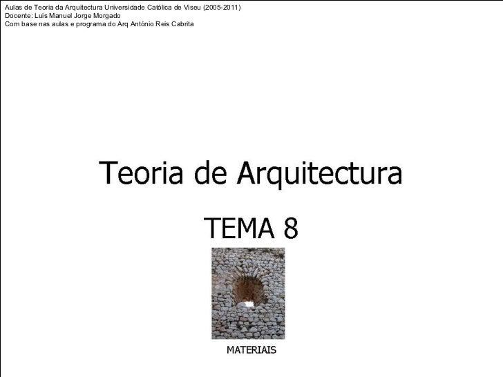 Aulas de Teoria da Arquitectura Universidade Católica de Viseu (2005-2011)Docente: Luis Manuel Jorge MorgadoCom base nas a...