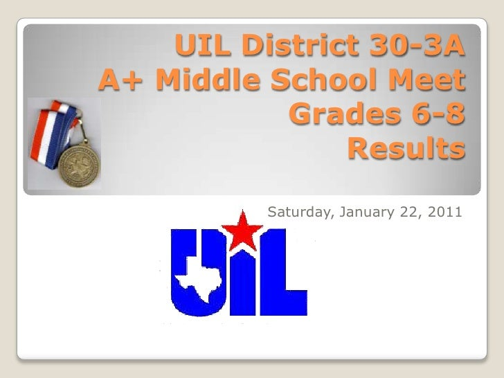 UIL District 30-3A  A+ Middle School MeetGrades 6-8Results<br />Saturday, January 22, 2011<br />