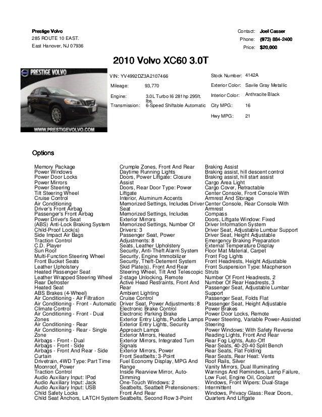 2010 Volvo XC60 T6 for sale at Prestige Volvo East Hanover