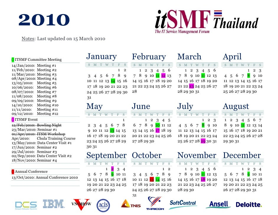 2010      Notes: Last updated on 15 March 2010    □ ITSMF Committee Meeting             January                    Februar...