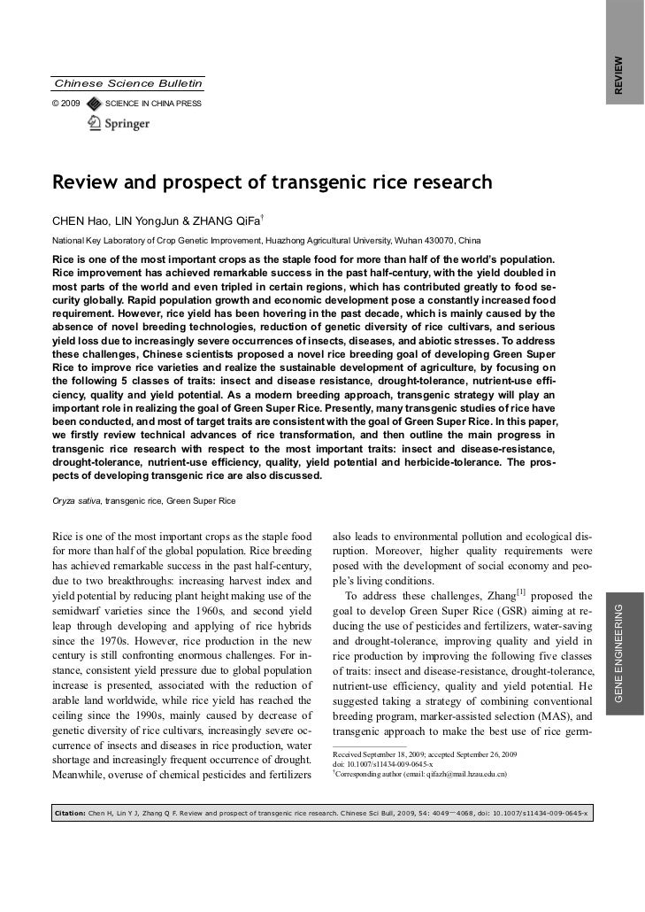 REVIEWChinese Science Bulletin© 2009        SCIENCE IN CHINA PRESSReview and prospect of transgenic rice researchCHEN Hao,...