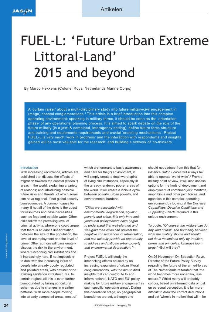 Artikelen                             FUEL-L: 'Future Urban Extreme                           Littoral-Land'              ...