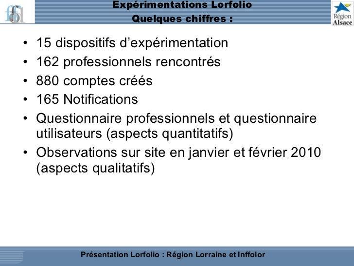 Expérimentations Lorfolio Quelques chiffres : <ul><li>15 dispositifs d'expérimentation </li></ul><ul><li>162 professionnel...