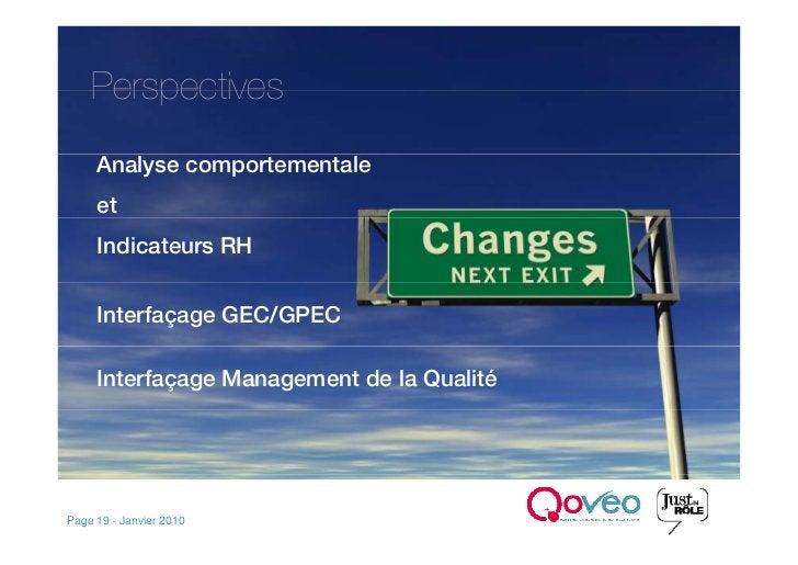 Perspectives      Analyse comportementale      et      Indicateurs RH        Interfaçage GEC/GPEC       Interfaçage Manage...