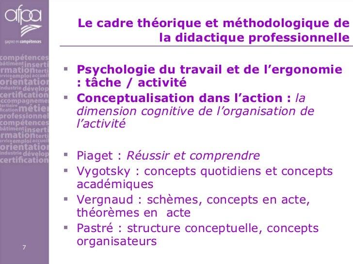 Le cadre théorique et méthodologique de la didactique professionnelle <ul><li>Psychologie du travail et de l'ergonomie : t...